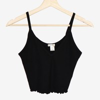 Lettuce Edge V-neck Cami - Black