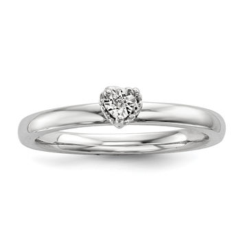 Sterling Silver Rhodium Polished .01ct. Diam. Heart Shape Ring