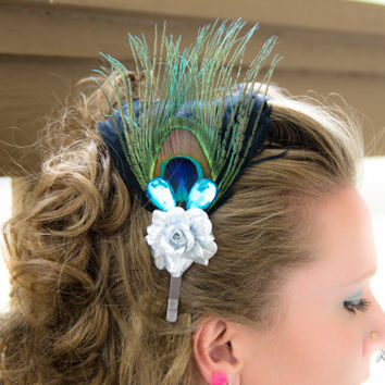 Silver Rose Peacock Feather Headband, Flower Headband, Feather Headdress, Bridal Headband, Wedding Headband, Flower Girl Headband, Prom Gown