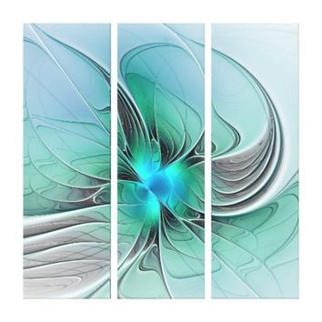 Abstract With Blue, Modern Fractal Art Canvas Print