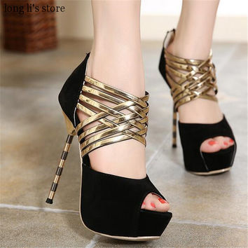 Zapatos Mujer Summer Metal Thin Heels Sexy Cross Straps Female Platforms Sandals Cutout Open Toe Shoes Woman Wedding Pumps