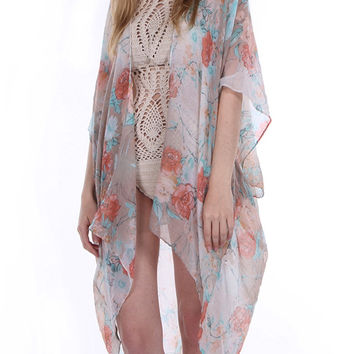 Sheer Woven Sleeved Floral Print Duster-Mint