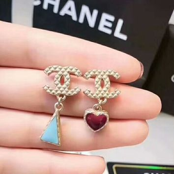 CHANEL Fashion new  length section loving heart triangle earrings women Golden