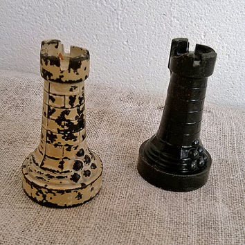 Set of 2 Vintage plastic chess piece, chess rook, white, black, Vintage, Toy, Game, Home decor, supplies, display, commercial, old