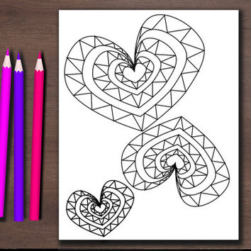 Printable Valentines Day coloring pages, instant download adult color sheets, kid's Valentine DIY, printable kid gift, printable woman gift