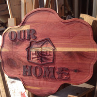 Our Home Welcome Wooden Cedar Sign Black Letters