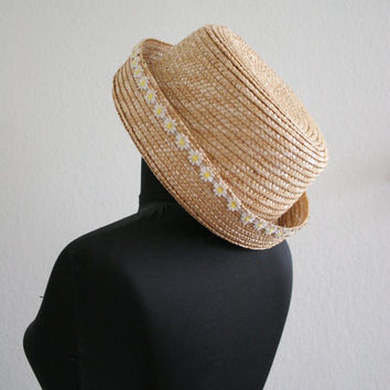 Vintage 90s white daisy trim straw hat bowler derby blossom hat blonde