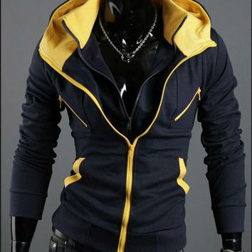Men's Sports Winter Double Layer,slim style Hoodie