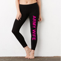 ARMY WIFE (hot pink ink) | Ladies' Cotton/Spandex Legging