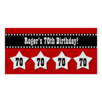 70th Birthday Red Black White Stars Banner V70S Poster