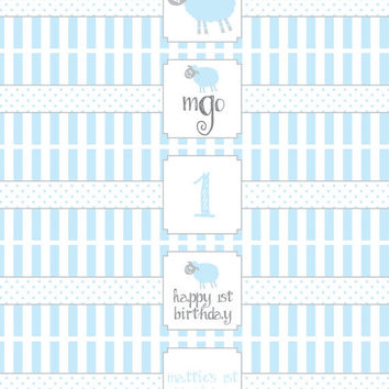 Little Lamb Birthday Party- water bottle wrappers- print your own