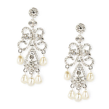 Rhinestone Swirl and Teardrop with Pearls Chandelier Drop Earrings