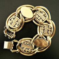 Art Deco Bracelet by KAFIN NEW YORK, Disks, Double Link, Gold Tone, Heavy Vintage