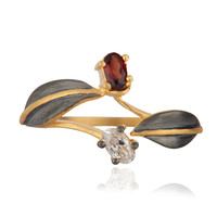 Natural Garnet Gemstone And Cubic Zirconia 18k Gold Over Brass Fashion Ring
