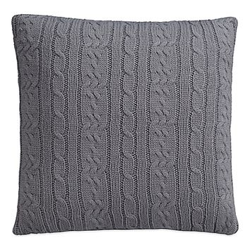 IZOD® Cable Knit Quiet Shade Square Throw Pillow in Grey