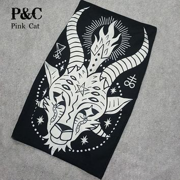 CREYET7 Summer Black Gothic Rock Punk Print Pencil Skirt Clothing Vintage Baphomet Goat Of Mendes Ladies High Waist Midi Bodycon Skirts