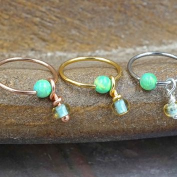 Light Green Opal CBR Hoop Captive Bead Hoop