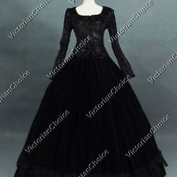 Victorian Black Civil War Velvet Dress Reenactment Steampunk Theater Costume 116