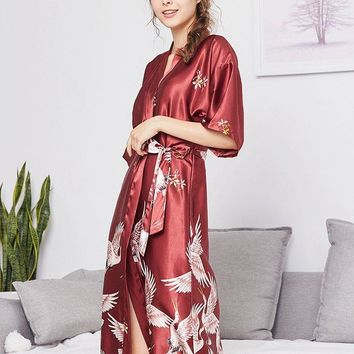 Plus Size Burgundy Floral Print Lace Satin Belt Robe Set