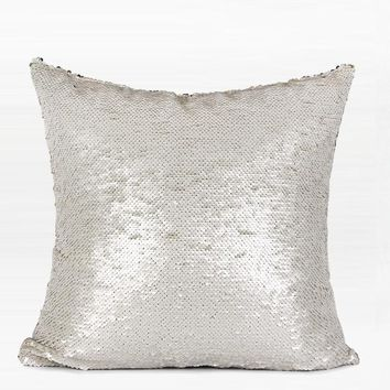 "Silver White Sequins Pillow 16""X16"""