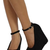Black Faux Suede Round Toe Ankle Strap Cover Platform Wedge Alcott 85