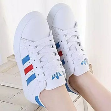 """Adidas"" Reflective Shell-toe Flats Sneakers Sport Shoes White (red blue line)"