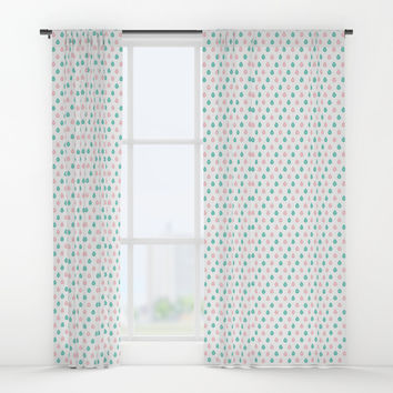 Turquoise and coral raindrops Window Curtains by Savousepate