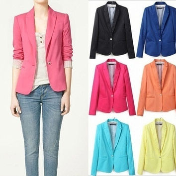 Asian Size Fashion Women's Candy Color Turn-Down Collar Blazers OL Slim Suits HB035 = 1958618564