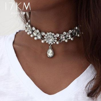 ONETOW 17KM Collar Crystal Choker Necklace &pendant for Women Boho Beads Vintage Simulated Pearl Chokers Statement Jewelry