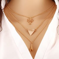 Multi-Layer Trianlge Tree Tower Infinity Necklace Women Various Styles