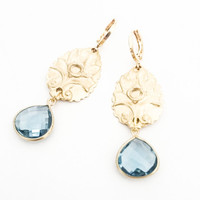 Gold Leaf Blue Quartz Faceted Tear Drop Dangles Leverback Earrings Free USA Shipping