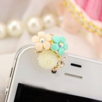 Runa Earphone Jack Accessory Gold Plated Three Flowers Dust Plug Ear Jack For Audio Headphone / Iphone 4 4S / Samsung Galaxy S2 S3 Note I9220 / HTC / Sony / Nokia / Motorola / LG / Lenovo / iPad / iPod Touch / Other 3.5mm Ear Jack
