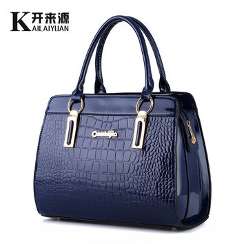 100% Genuine leather Women handbags 2016 new bright leather female bag stone high-end western style atmosphere Shoulder Handbag