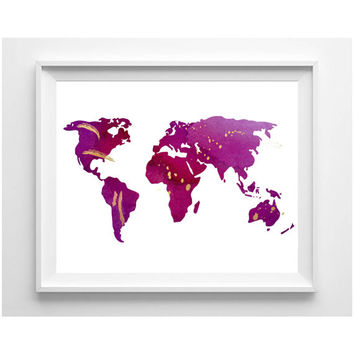 Watercolor World Map Print, Instant Download Printable Orchid Purple Gold Bruststroke Wall Art, Wall Decor Home Decor Girl Apartment Decor