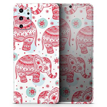 Sacred Red Elephant and Polkadots - Skin-Kit for the Samsung Galaxy S-Series S20, S20 Plus, S20 Ultra , S10 & others (All Galaxy Devices Available)