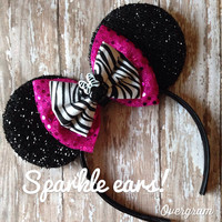 Character sparkle bow embellished mouse ears headband