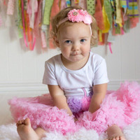Pink birthday chiffon pettiskirt set, kids, petti skirt, cupcake, Birthday, outfit, girls skirt, toddler, baby, first, second, 1st, 2nd, 3rd