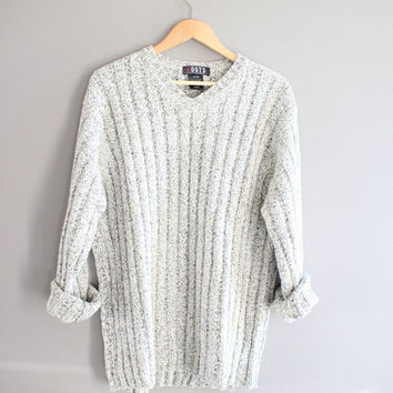 White & Grey ROOTS Sweater Slouchy Oversize Unisex Minimalist Open Size