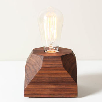 Gem Pedestal Lamp in Walnut- Table Lamp, Wooden Gem Lamp, Solid Wood Lamp, Edison Bulb Lamp