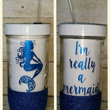 Mermaid - Glittered Mason Jar Tumbler - Glittered Jar with Straw - 24oz Custom Tumbler - I'm a Mermaid Glass Tumbler with Straw