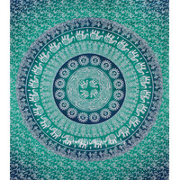 Green Multi Elephants Sun Ombre Mandala Wall Tapestry on RoyalFurnish.com
