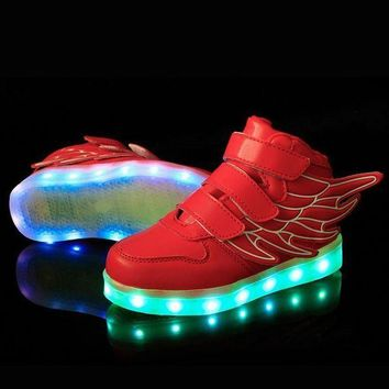 25-37 Size/ USB Charging Basket Led Children Shoes With Light Up Kids Casual Boys&Girl