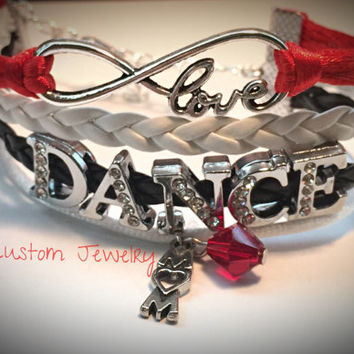 Infinity/Love Custom Rhinestone DANCE Bracelet- Multi-strand w/out Charm - Mom, Cheer, Football, Dance, Hockey, Sport Mom, Music, sports