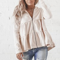Caught In The Moment Natural Tiered Zip Up Jacket