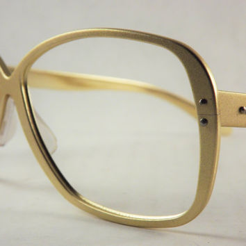 Gold Eyeglasses, Aluminum Metal Frames, Vintage Womens or Mens Glasses, Mod Unisex Glasses, Made in Japan