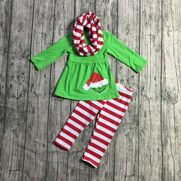 winter 3 pieces scarf red green stripe Christmas baby girls outfits children clothes Santa hat cotton pant boutique kids wear
