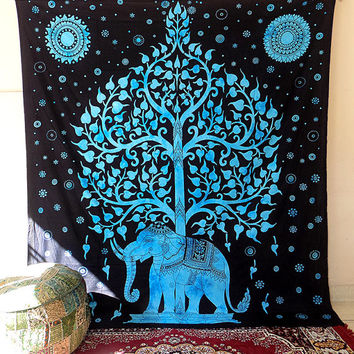 LARGE cotton elephant tapestry hippie wall hanging indian bedding bohemian bedspread tree elephant throw ethnic decorative art