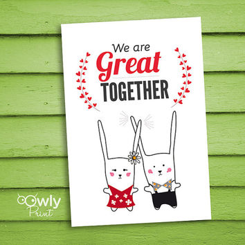 Printable Bunny Valentines day card. Ready to  print Bunny Love Card. Cute Valentines day card