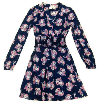 Navy Blue Floral Print Skater Dress - Wrap Swing Mini Dress Pink 70's Grunge - Women's Size Small Medium Sm Med S M
