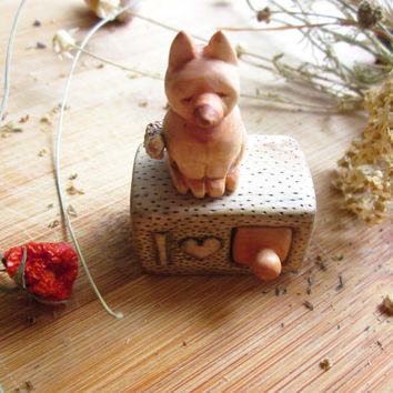 I Love You miniature drawer with fox, wood carving miniature, Valentines gift, minature art, Personalized Gifts, unique gift